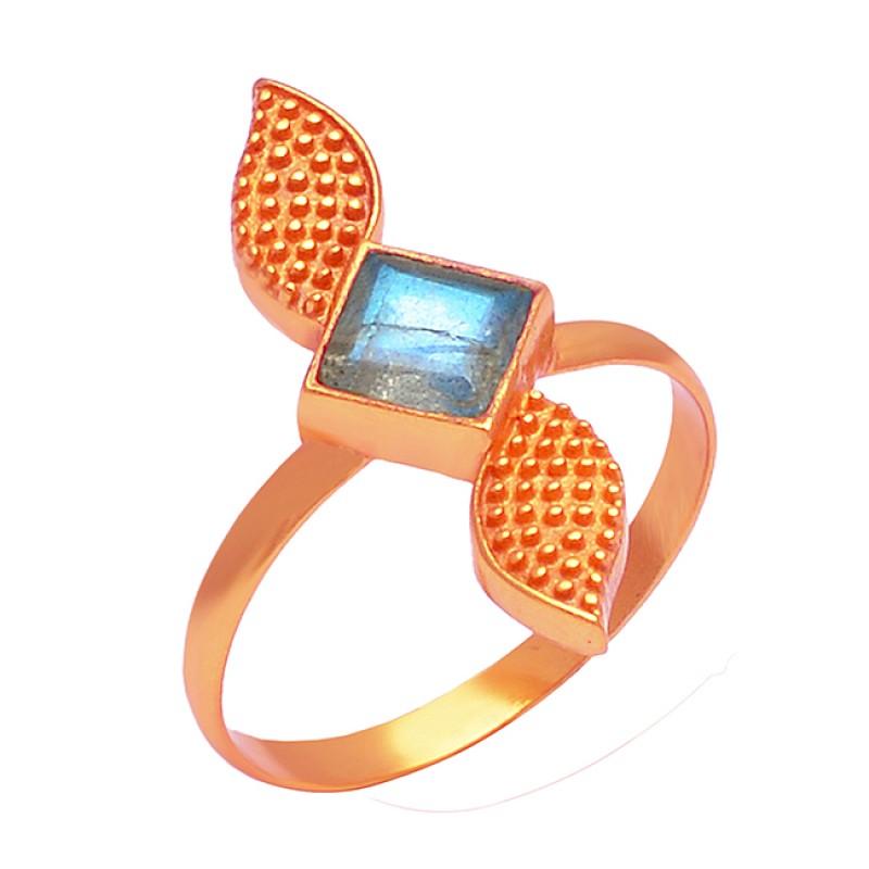 Labradorite Square Shape Gemstone 925 Sterling Silver Designer Gold Plated Ring