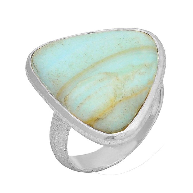 Blue Aragonite Triangle Shape Gemstone 925 Sterling Silver Gold Plated Ring