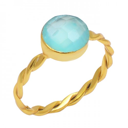 925 Sterling Silver Round Shape Aqua Chalcedony Gemstone Gold Plated Ring