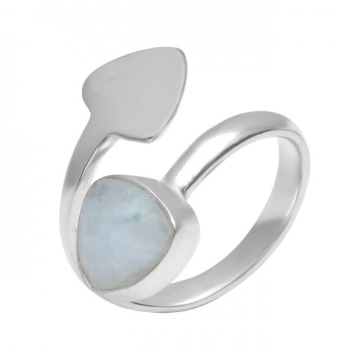 Rainbow Moonstone Triangle Shape 925 Sterling Silver Designer Ring Jewelry