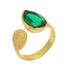 925 Silver Handcrafted Designer Green Quartz Gemstone Gold Plated Stylish Ring