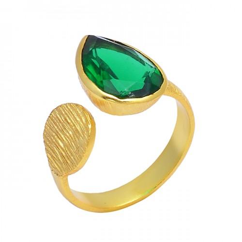 925 Silver Handcrafted Designer Green Quartz Gemstone Gold Plated Stylish Ring