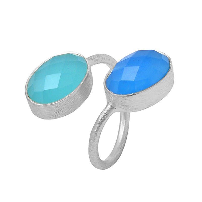 Oval Shape Chalcedony Gemstone 925 Sterling Silver Gold Plated Ring Jewelry