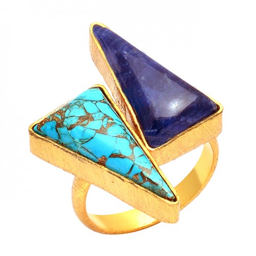 925 Sterling Silver Triangle Shape Lapis Lazuli Turquoise Gemstone Gold Plated Ring