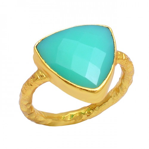 Triangle Shape Aqua Chalcedony Gemstone 925 Sterling Silver Gold Plated Ring