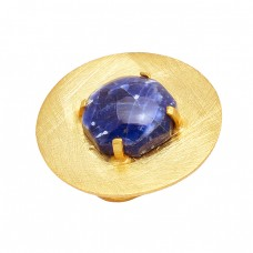 Round Cabochon Sodalite Gemstone 925 Sterling Silver Gold Plated Designer Ring