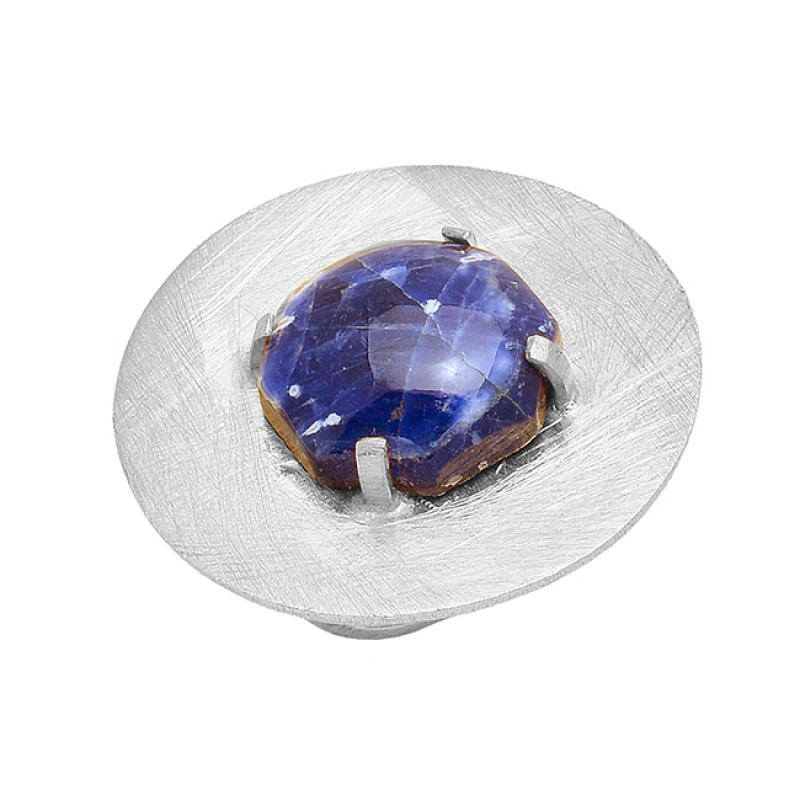 Round Cabochon Sodalite Gemstone 925 Sterling Silver Gold Plated Designer Ring