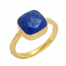 Lapis Lazuli Cushion Shape Gemstone 925 Sterling Silver Gold Plated Handmade Ring