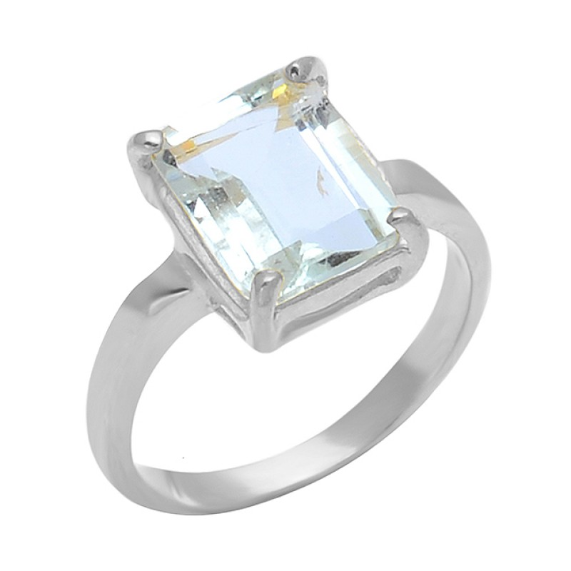 925 Sterling Silver Crystal Rectangle Shape Gemstone Gold Plated Handmade Ring