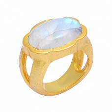 Oval Shape Rainbow Moonstone 925 Sterling Silver Gold Plated Ring Jewelry