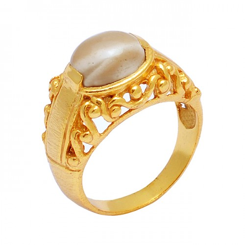 925 Sterling Silver Oval Shape Flint Gemstone Gold Plated Filigree Style Designer Ring
