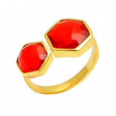 Hexagon Shape Fanta Quartz Gemstone 925 Sterling Silver Gold Plated Ring Jewelry