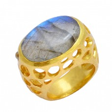 Labradorite Oval Shape Gemstone 925 Sterling Silver Gold Plated Designer Ring