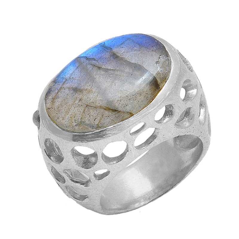 Labradorite Oval Shape Gemstone 925 Sterling Silver Gold Plated Designer Ring