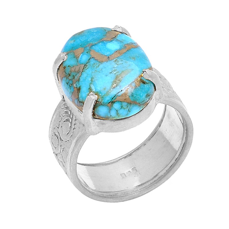 Blue Copper Turquoise Oval Shape Gemstone 925 Sterling Silver Gold Plated Ring
