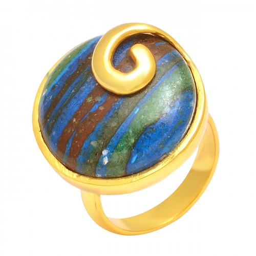 Rainbow Calsilica Round Cabochon Gemstone 925 Sterling Silver Gold Plated Ring