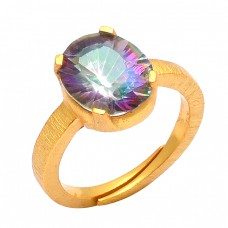 925 Sterling Silver Mystic Topaz Oval Shape Gemstone Gold Plated Designer Ring