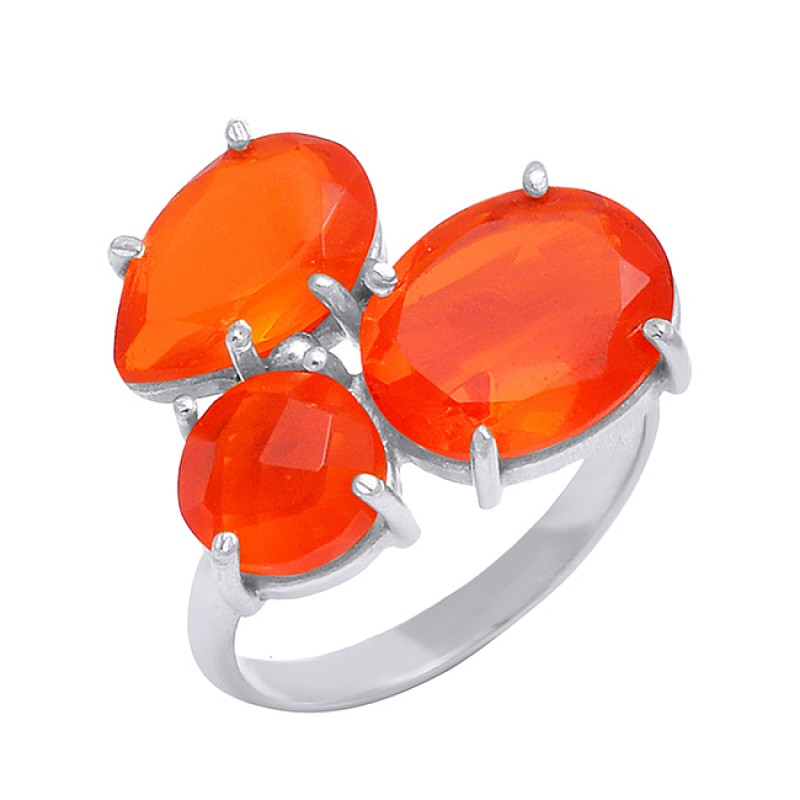 925 Sterling Silver Carnelian Gemstone Prong Setting Gold Plated Designer Ring