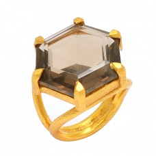 925 Sterling Silver Hexagon Shape Smoky Quartz Gemstone Gold Plated Ring