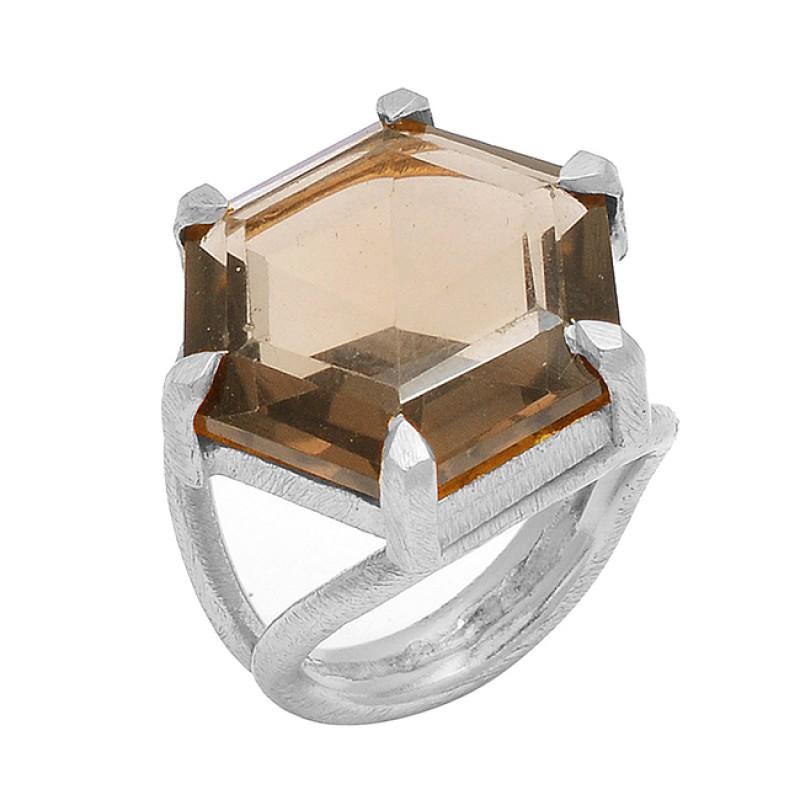 925 Sterling Silver Hexagon Shape Smoky Quartz Gemstone Gold Plated Ring
