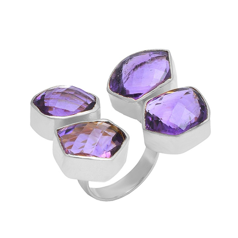 Amethyst Fancy Shape Gemstone 925 Sterling Silver Gold Plated Handmade Ring