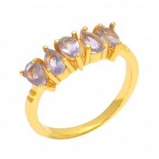 Faceted Pear Shape Amethyst Gemstone 925 Silver Prong Setting Gold Plated Ring
