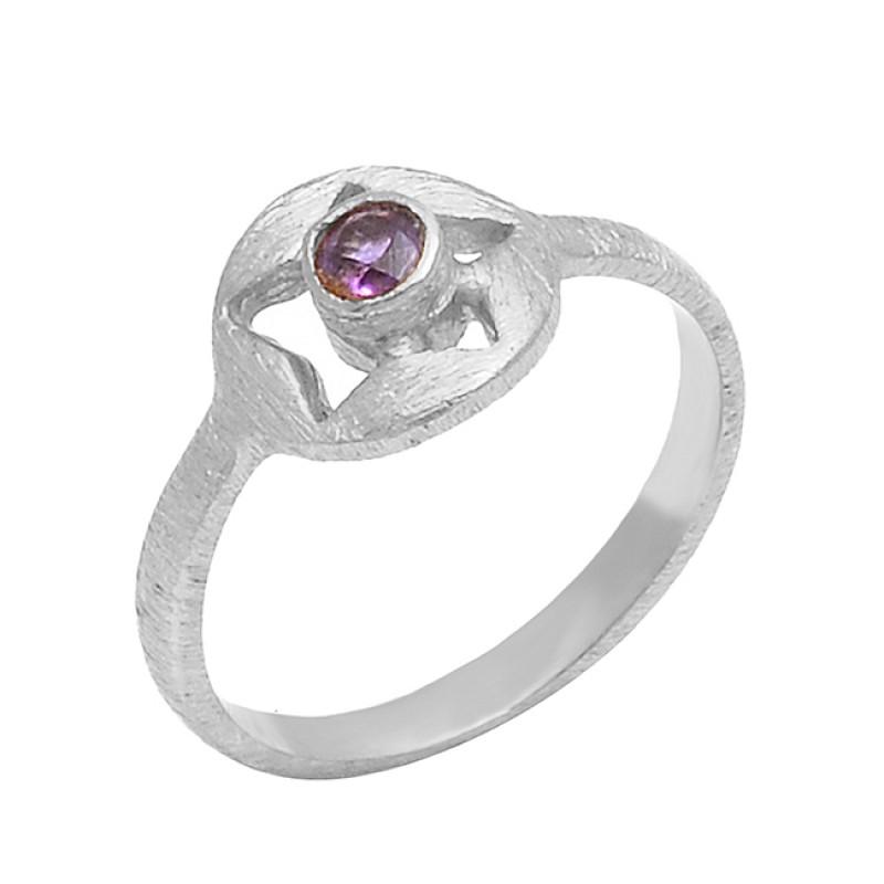 Mystic Topaz Round Shape Gemstone 925 Sterling Silver Gold Plated Designer Ring