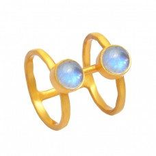 Rainbow Moonstone Cabochon Round Shape Gemstone 925 Sterling Silver Gold Plated Ring