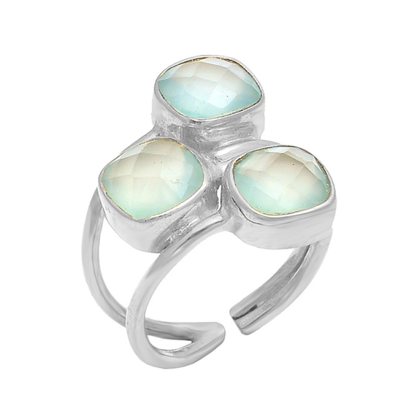 925 Sterling Silver Chalcedony Gemstone Handcrafted Designer Ring Jewelry