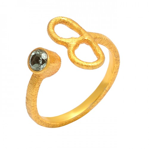 925 Sterling Silver Blue Topaz Round Shape Gemstone Gold Plated handmade Ring