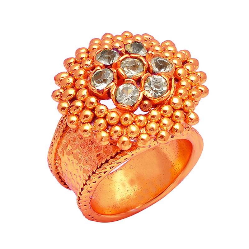 Handcrafted Designer Crystal Quartz Round Gemstone 925 Silver Gold Plated Ring