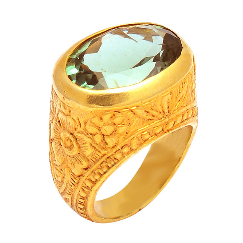 Blue Topaz Faceted Oval Shape Gemstone 925 Silver Gold Plated Designer Ring
