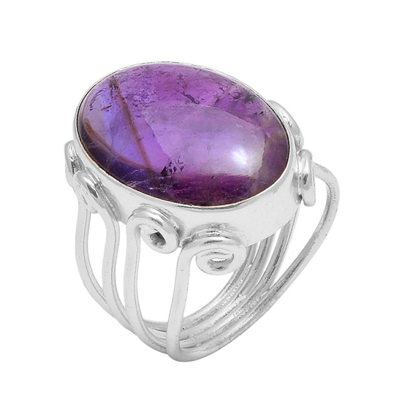 Amethyst Oval Cabochon Gemstone Handcrafted Designer Gold Plated Ring