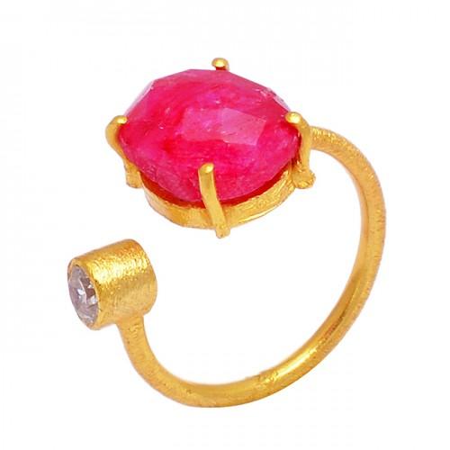 925 Sterling Silver Ruby Cubic Zirconia Gemstone Gold Plated Handmade Designer Ring