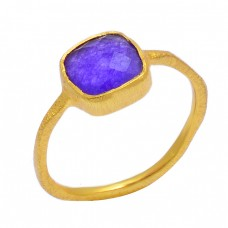 925 Sterling Silver Amethyst Cushion Shape Gemstone Handmade Gold Plated Ring