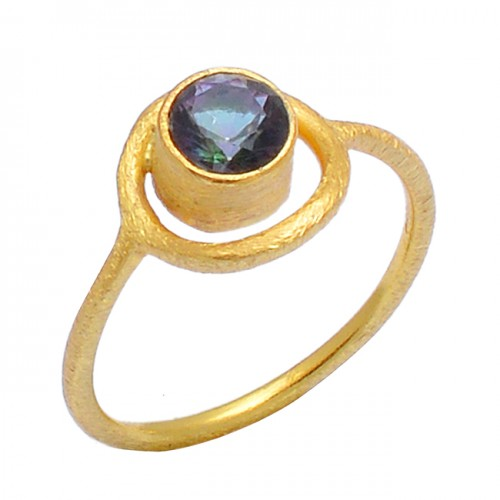 Round Shape Mystic Topaz Gemstone 925 Sterling Silver Gold Plated Ring Jewelry
