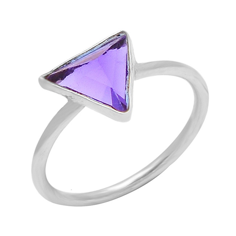 Triangle Shape Amethyst Gemstone 925 Sterling Silver Gold Plated Handmade Ring