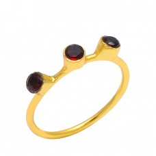 Round Shape Garnet Gemstone 925 Sterling Silver Gold Plated Unique Designer Ring