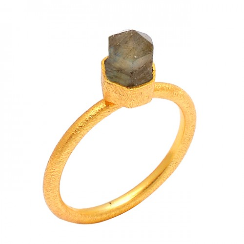 Half Pencil Shape Labradorite Gemstone 925 Sterling Silver Gold Plated Ring Jewelry