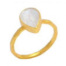Pear Sahpe Rainbow Moonstone 925 Sterling Silver Gold Plated Handmade Ring