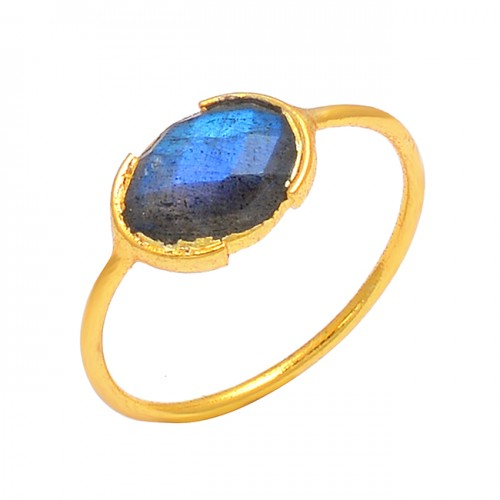 Oval Shape Labradorite Gemstone 925 Sterling Silver Gold Plated Handmade Ring