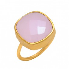 Cushion Shape Rose Quartz Gemstone 925 Sterling Silver Gold Plated Designer Ring