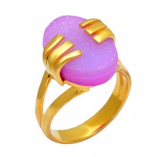 Designer Pink Druzy Oval Shape Gemstone 925 Silver Gold Plated Stylish Ring