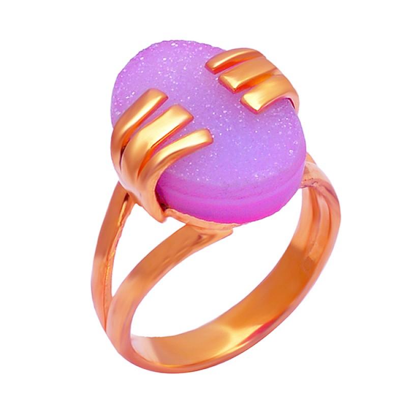 Designer Pink Druzy Oval Shape Gemstone 925 Silver Gold Plated Stylish Ring
