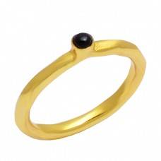 Round Cabochon Black Onyx Gemstone 925 Sterling Silver Gold Plated Designer Ring