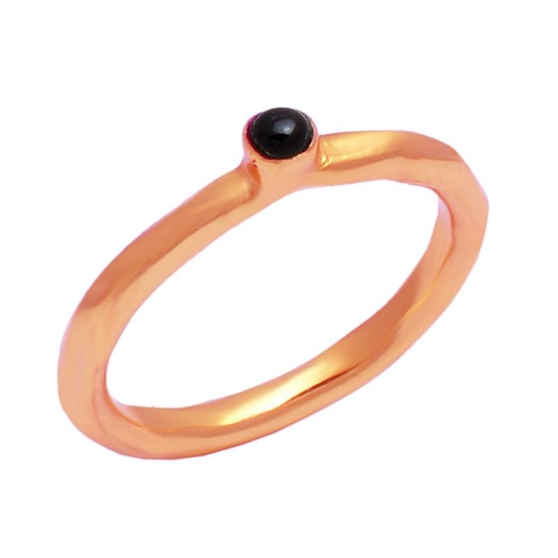 Round Cabochon Black Onyx Gemstone 925 Sterling Silver Gold Plated Designer Ring