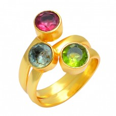 Faceted Round Shape Multi Color Gemstone 925 Sterling Silver Gold Plated Ring
