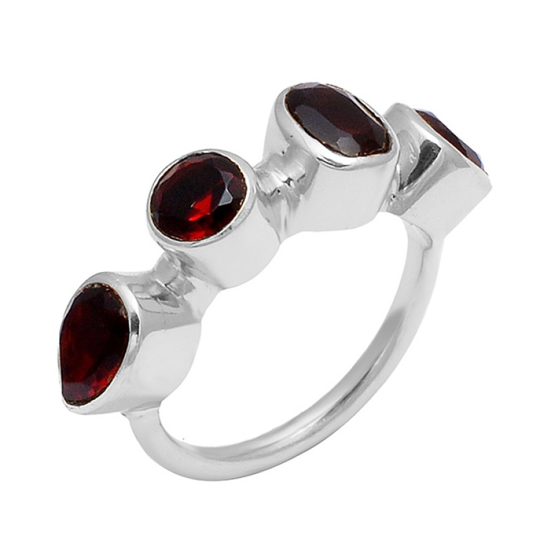 Garnet Round Pear Oval Shape Gemstone 925 Sterling Silver Gold Plated Ring Jewelry