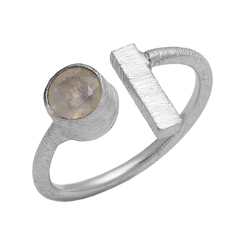 Round Shape Labradorite Gemstone 925 Sterling Silver Gold Plated Designer Ring
