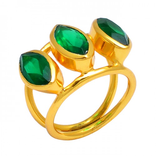 Green Onyx Marquise Shape Gemstone 925 Sterling Silver Handmade Gold Plated Ring